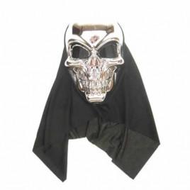 Masker doodshoofd zilver met doek
