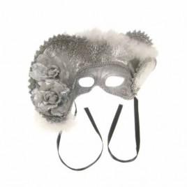 Oogmasker dames venetie zilver + hoed