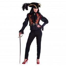 Damesvest Steampunk Sonja (zwart-rood)