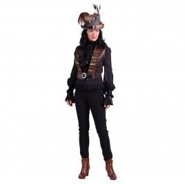 Steampunk vest Scarlett bruin