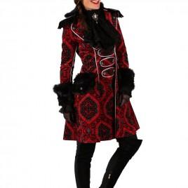 Brokaat jas lang Dame rood