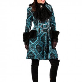 Brokaat jas lang Dame turquoise