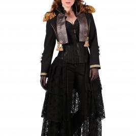 Steampunk jas kort zwart