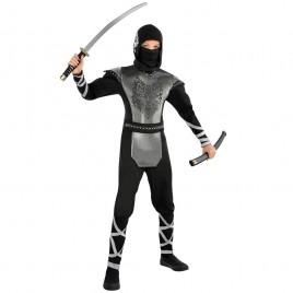Ninja kostuum (zwart/zilver)