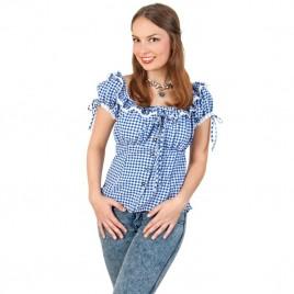 Bayern-blouse blauw/wit
