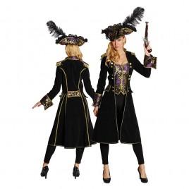 Piraten jas zwart/paars brokaat