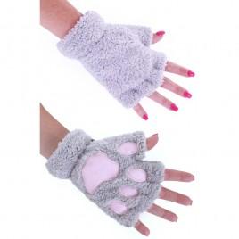 Vingerloze handschoenen pluche dierenpootjes (grijs)
