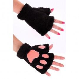 Vingerloze handschoenen pluche dierenpootjes (zwart)