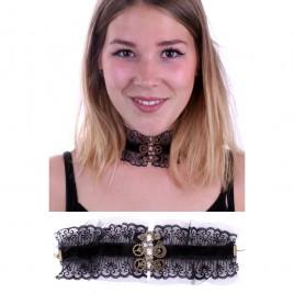 Steampunk halsketting met kant