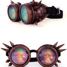 Steampunkbril  koper en spikes en 3 D skelet