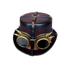 Steampunk hoge hoed bruin decoratief