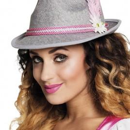Tiroler hoed (grijs/pink)