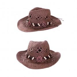 Cowboy hoed met houten band